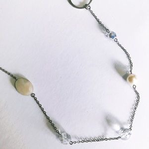 Long Silver Pearl and Crystal Necklace